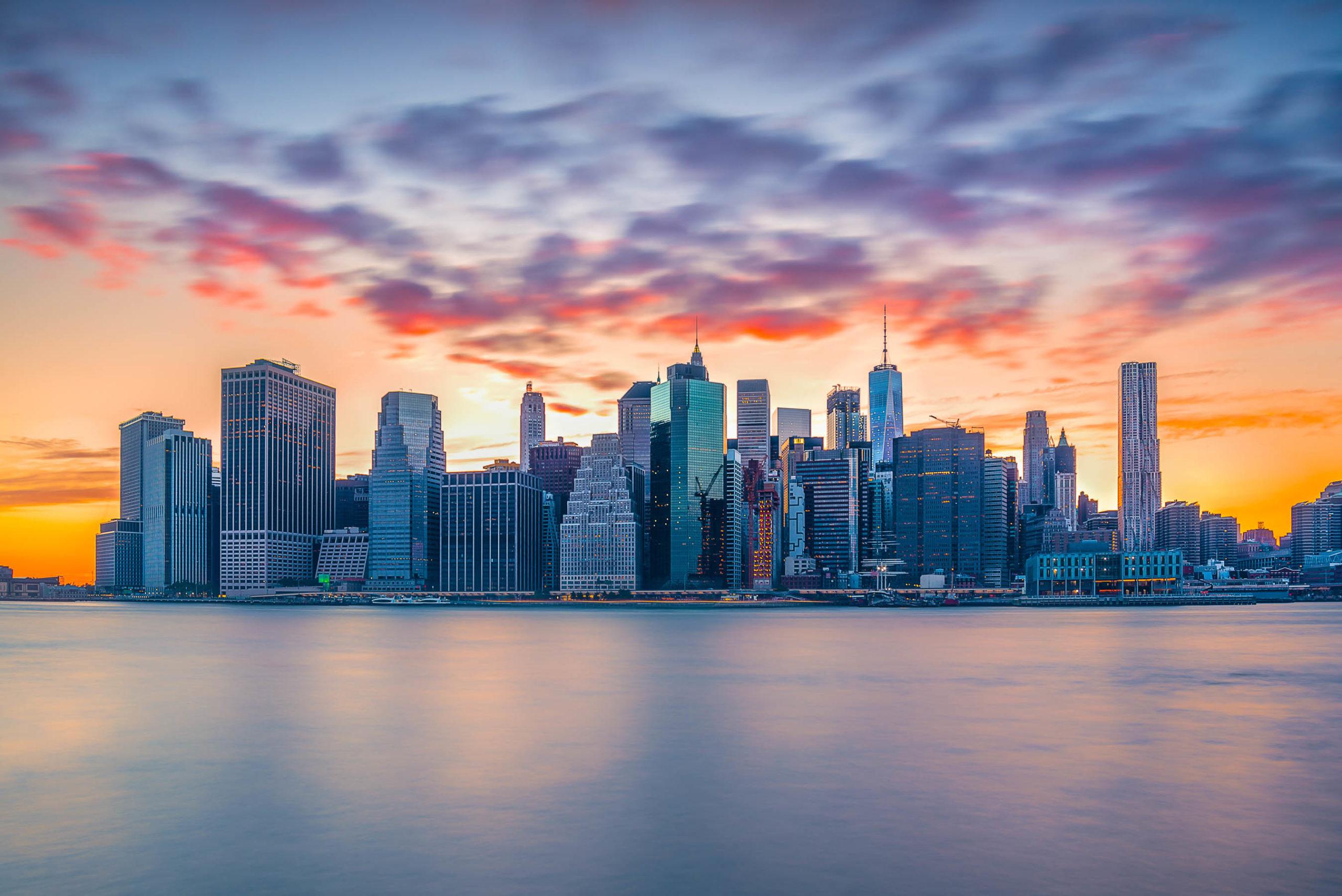 Sunset in New York City Manhattan
