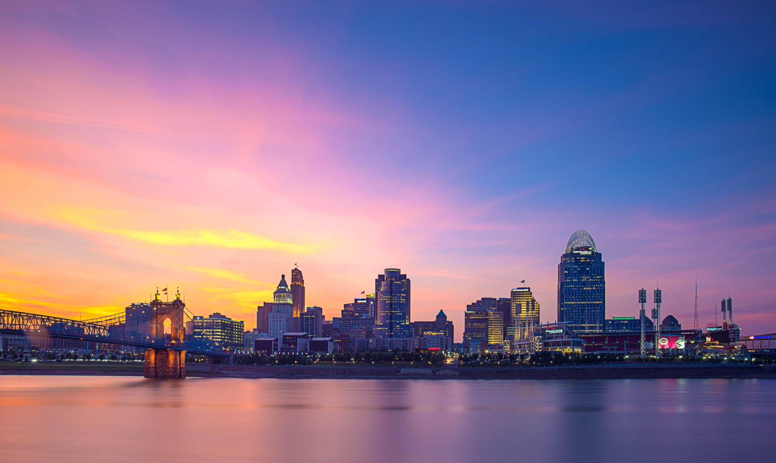 Sunset in Ohio River Cincinnati
