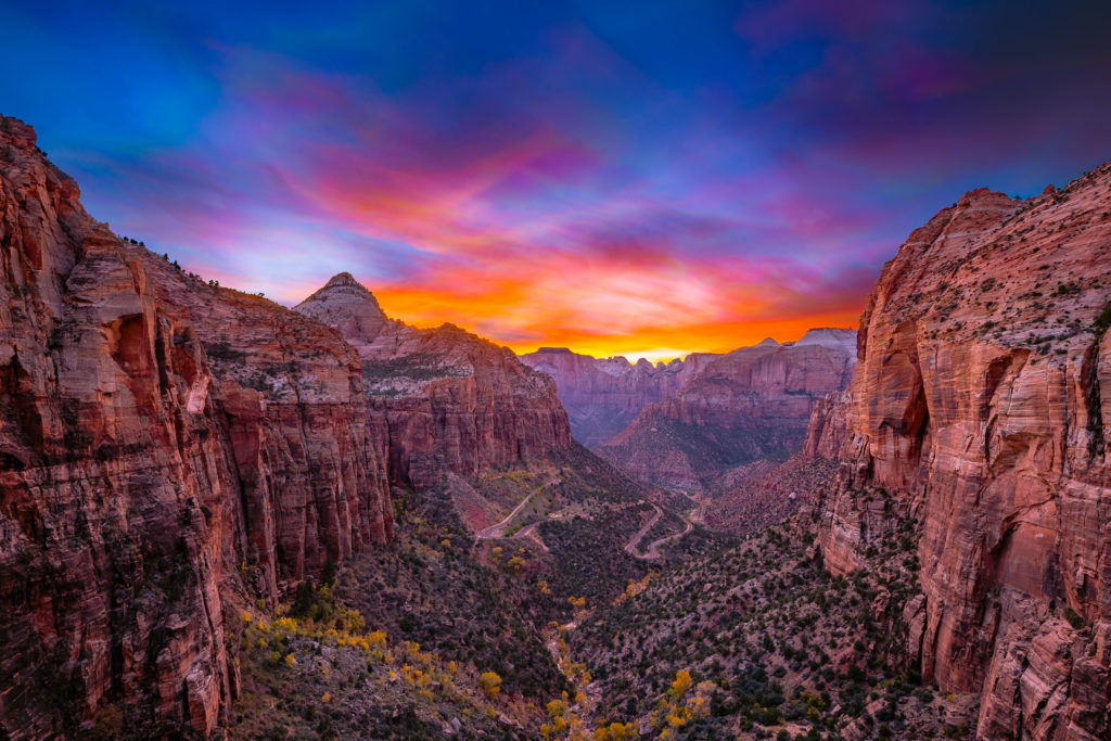 Sunset at Canyon Overlook Trail in Zion National Park