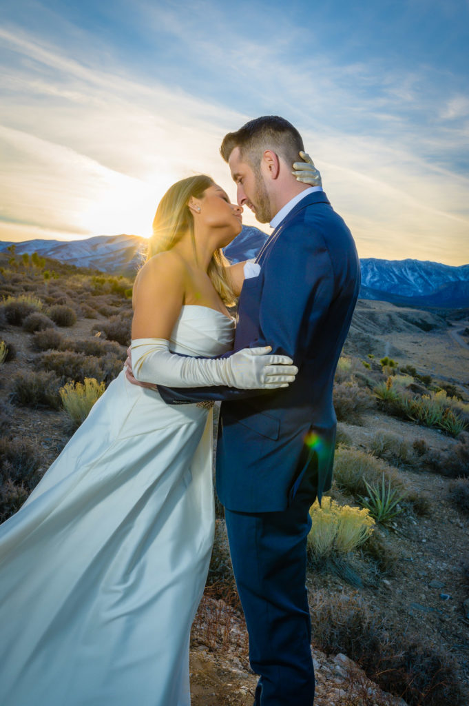 Couple portrait with wedding dress at Mount Charleston Las Vegas